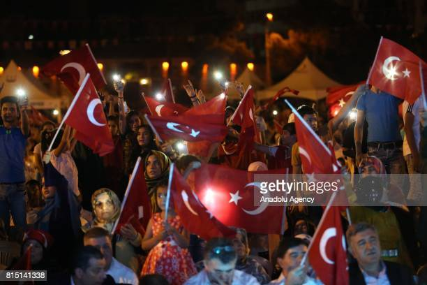 People attend July 15 Democracy and National Unity Day's events to mark July 15 defeated coup's 1st anniversary in Sanliurfa, Turkey on July 15,...