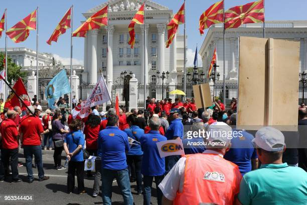 People attend May Day International Workers' Day celebrations in Skopje Macedonia on May 01 2018