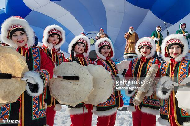 People attend Reindeer Herders' Day celebration in the city of Nadym, in Yamal-Nenets Region, 2500 kilometres northeast of Moscow, Russia on March...