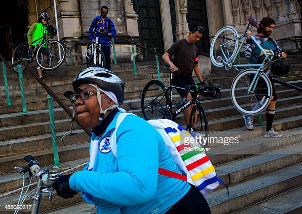 People attend the 16th Annual Blessing of the Bikes at Cathedral Church of St John the Divine on May 3 2014 in New York City Attendees could have...