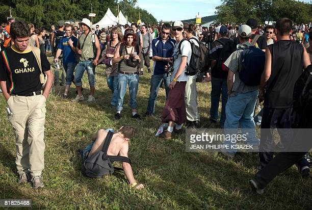 People attend the 20th edition of the French rock festival Les eurockeennes de Belfort on July 04 2008 in Belfort eastern France The music festival...