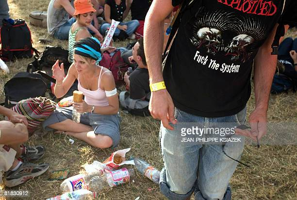 People attend the 20th edition of the French rock festival Les eurockeennes de Belfort on July 05 2008 in Belfort eastern France The music festival...