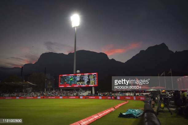 People attend the 5th One Day International cricket match between Sri Lanka and South Africa at Newlands Stadium in Cape Town, on March 16, 2019. -...