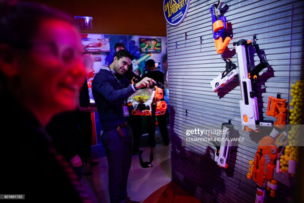 People attend the annual New York Toy Fair, on February 20, 2018, in New York