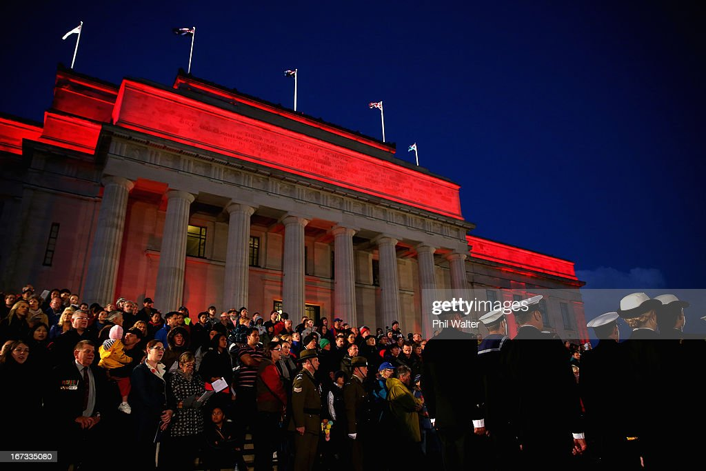 People attend the ANZAC Day dawn service at the Auckland War Memorial Museum on April 25, 2013 in Auckland, New Zealand. Veterans, dignitaries and members of the public today marked the 98th anniversary of ANZAC (Australia New Zealand Army Corps) Day, April 25, 1915 when allied New Zealand and Australian First World War forces landed on the Gallipoli Peninsula. Commemoration events are held across both countries in remembrance of those who fought and died in all wars.