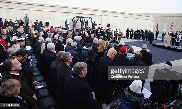People attend The Armistice Day Service at The National Memorial Arboretum on November 11 2016 in Stafford England Armistice Day commemorates the...