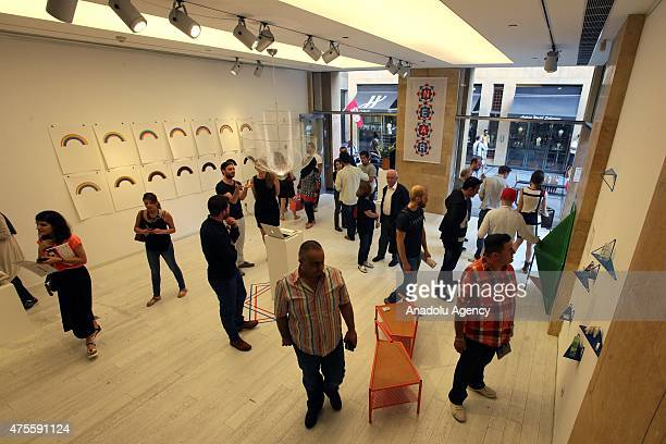 People attend the Beirut Design Week at Beirut Souks in Beirut Lebanon on June 1 2015 Beirut Design Week is held annually in June across Beirut City...