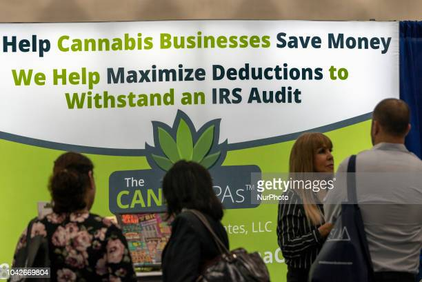 People attend the Cannabis World Congress amp Business Expo in Los Angeles California on September 27 2018 The annual Cannabis World Congress amp...