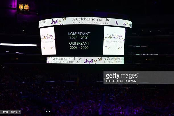 People attend the Celebration of Life for Kobe and Gianna Bryant service at Staples Center in Downtown Los Angeles on February 24 2020 Kobe Bryant...