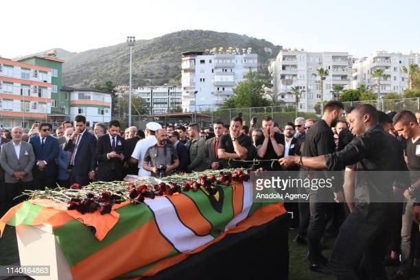 People attend the ceremony for Czech striker of Turkish football club Alanyaspor Josef Sural who died in a road accident at the club facility in...
