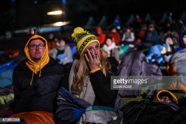 People attend the dawn service marking Anzac Day in Gallipoli on April 25 2017 to mark the 102st anniversary of the illfated Gallipoli campaign in...