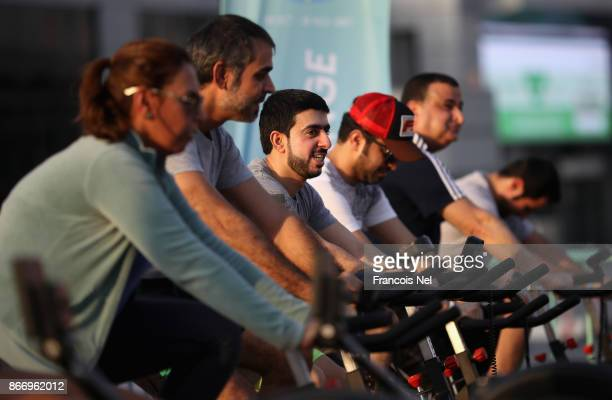 People attend the Dubai Fitness Challenge at Dubai World Trade Centre on October 24 2017 in Dubai United Arab EmiratesThe Mobile Fitness unit offers...
