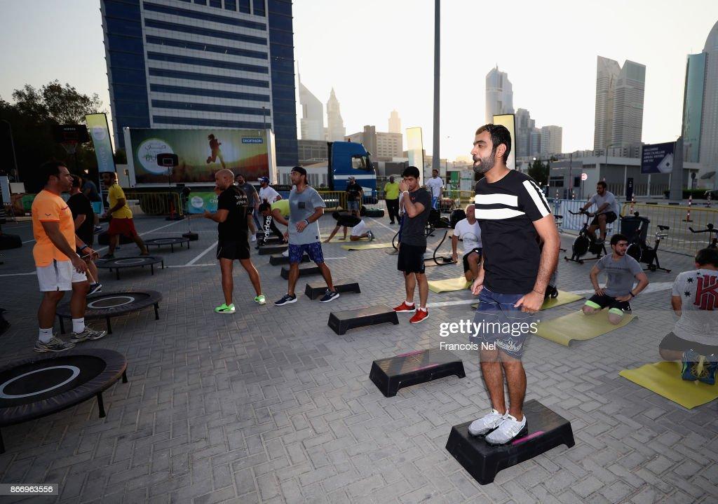 People attend the Dubai Fitness Challenge at Dubai World