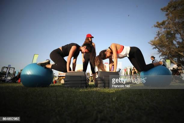 People attend the Dubai Fitness Challenge Opening Carnival at Safa Park on October 21 2017 in Dubai United Arab EmiratesThe inaugural Dubai Fitness...