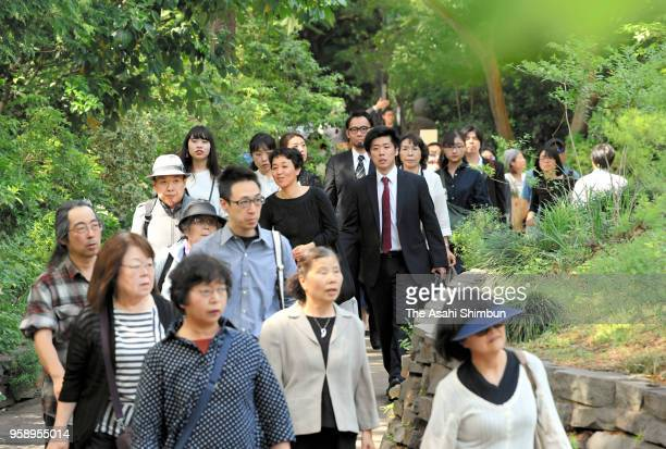 People attend the farewell ceremony for late film director Isao Takahata at Ghibli Museum on May 15, 2018 in Mitaka, Tokyo, Japan.