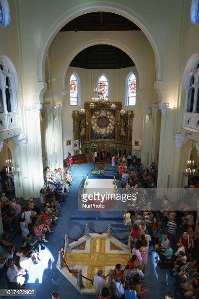 People attend the Feast of La Paloma Virgin in Madrid spain on August 15 2018 Madrid's history and tradition cannot be understood without its famous...
