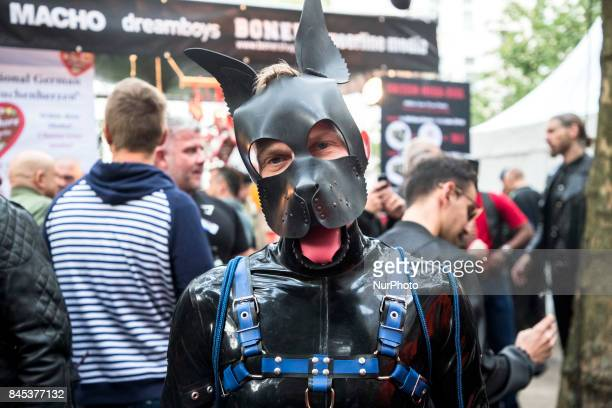 People attend the 'Folsom Europe' 2017 fetish street festival in Berlin Germany on September 9 2017 The annual festival was first held 2004 in Berlin...