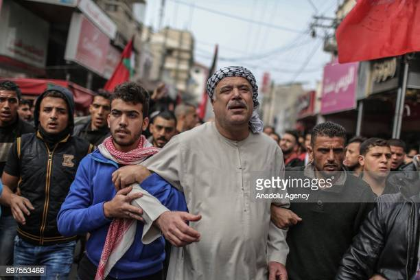 People attend the funeral ceremony of Muhammed Nebii Muhaysin who was martyred during the clashes between Palestinian protesters and Israeli security...