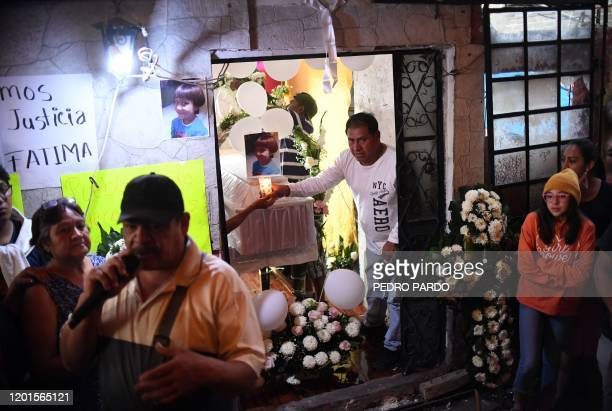 TOPSHOT People attend the funeral of a sevenyearold girl whose body was found over the weekend with signs of torture in the municipality of Tlahuac...