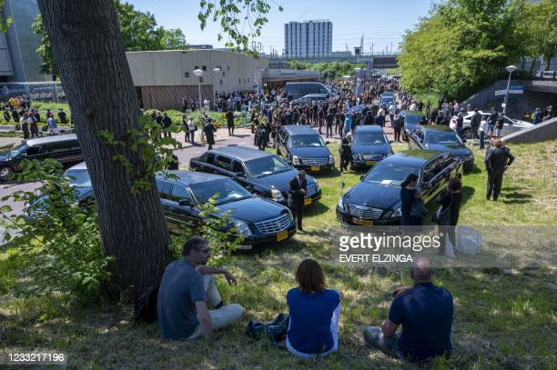 People attend the funeral of former president of motorcycle Satudarah, Etous Belserang, in Amsterdam on June 1, 2021. - Netherlands OUT / Netherlands...
