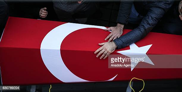 People attend the funeral prayer service of 35yearsold security guard Fatih Cakmak on January 02 2017 at Yavuz Selim Mosque in Bagcilar District...