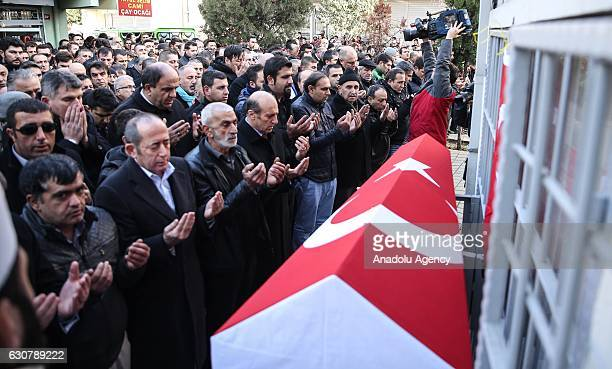 People attend the funeral prayer service of 35yearsold security guard Fatih Cakmak on January 02 2017 at Yavuz Selim Mosque in Bagcila District...