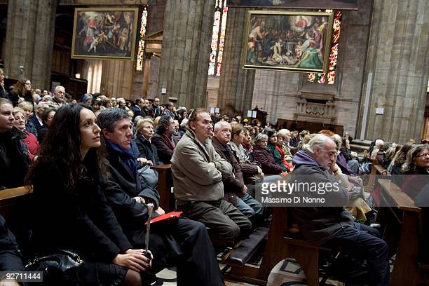 People attend the funeral service for Italian Poetess Alda Merini at the Milan Cathedral on November 4 2009 in Milan Italy Poetess Alda Merini who...