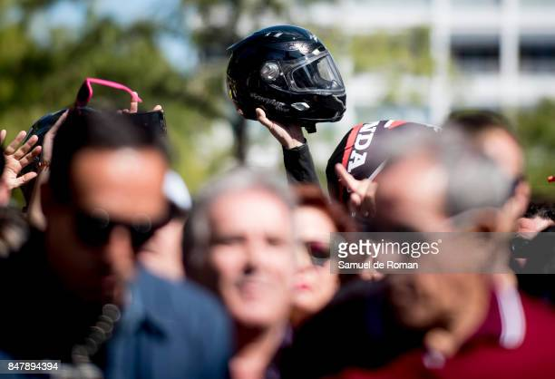 People attend the Funeral Tribute For Angel Nieto in Madrid on September 16 2017 in Madrid Spain
