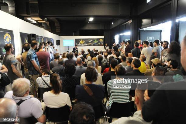 People attend the Indica Sativa Trade at Unipol Arena on May 19 2018 in Bologna ItalyThe 6th Italian exhibition is dedicated to the many uses of hemp...