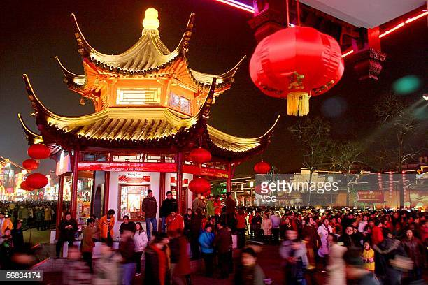 People attend the Lantern Festival on February 12, 2006 at Confucius Temple in Nanjing, Jiangsu province, China. The Lantern Festival or Yuanxiao Jie...