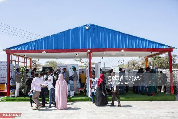 People attend the launching of the first innovation and entrepreneurship hub in Somaliland HarHub during the Global Entrepreneurship week organized...