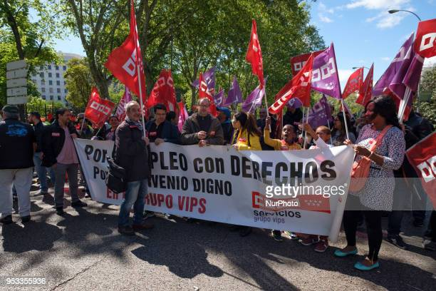 People attend the May Day International Workers' Day celebrations at Plaza de Cibeles in Madrid Spain on May 1 2018 Labour Day or May Day is observed...