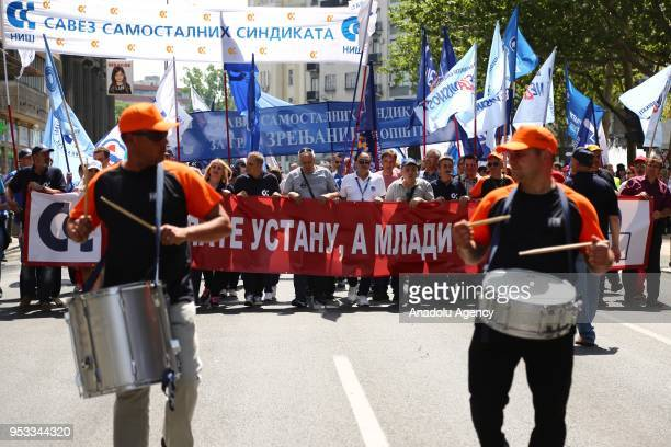 People attend the May Day International Workers' Day celebrations in Belgrade Serbia on May 1 2018