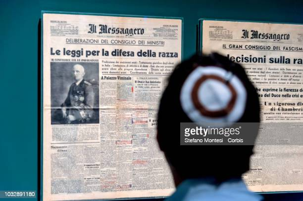 People attend the opening of the exhibition Italians of the Jewish race an exhibition on the infamous racial laws issued by the fascist regime and...
