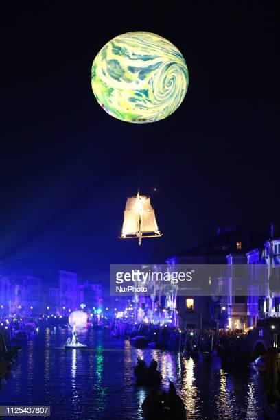 People attend the opening show of the Venice Carnival in Venice Italy Saturday Feb 16 2019 Saturday February 16 the Rio di Cannaregio turns into a...