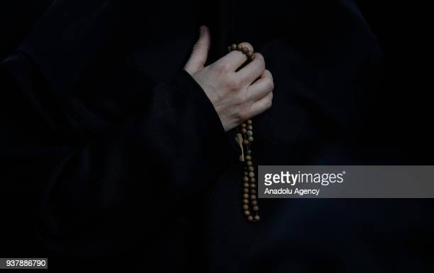 People attend the Palm Sunday procession in Madrid Spain on March 25 2018 Palm Sunday is celebrated on last Sunday before the 'Easter' for triumphal...