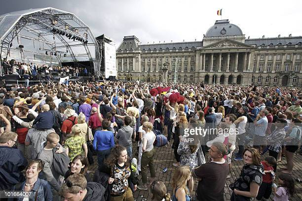 People attend the second Belgavox concert a concert aimed to reinforce solidarity dialogue respect community and cultural diversity in Belgium with...