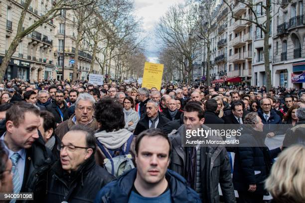 People attend the Silent March In Memory Of Mireille Knoll who survived the Holocaust but was recently murdered in her home on March 28 2018 in Paris...