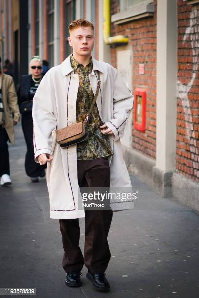 People attend the Street Style at Fendi fashion show: January 13 - Milan Men's Fashion Week Fall/Winter 2020/2021 13 January 2020, Milan, Italy