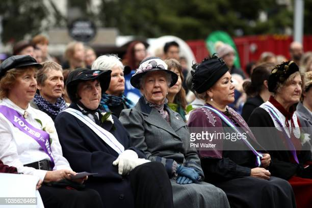 People attend the Womens Suffrage Sunrise Celebration at Aotea Square on September 19 2018 in Auckland New Zealand This year marks the 125th...