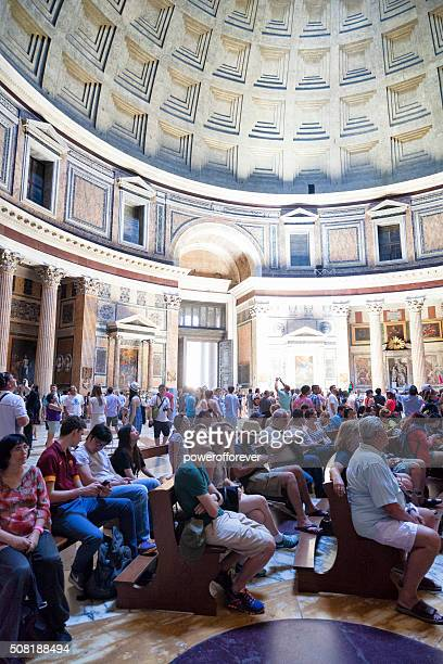 People attending religious service at the Pantheon in Rome, Italy