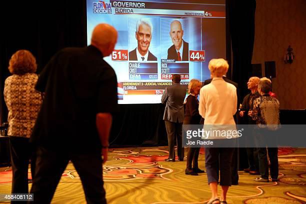 People attending the election night party for former Florida Governor and now Democratic gubernatorial candidate Charlie Crist watch a television...