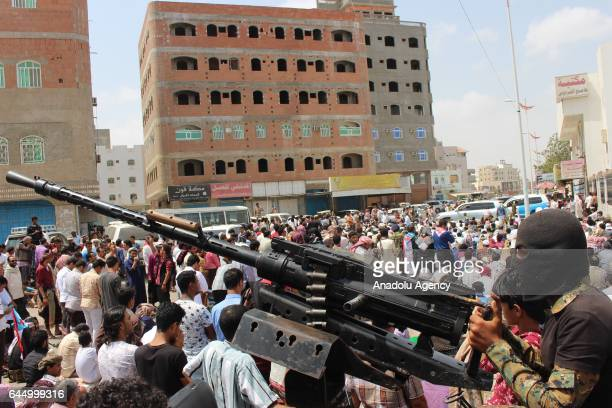 People attends the funeral ceremony held for the Army deputy chief of staff Major General Ahmad Saif Al Yafii under tight security measures in Aden...