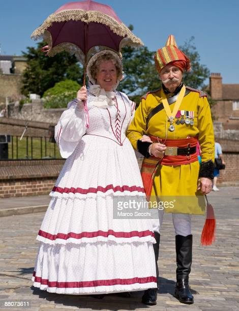 People attired in traditional costume take part in the 31st Summer Dickens Festival which celebrates Charles Dickens links with Medway on May 29 2009...