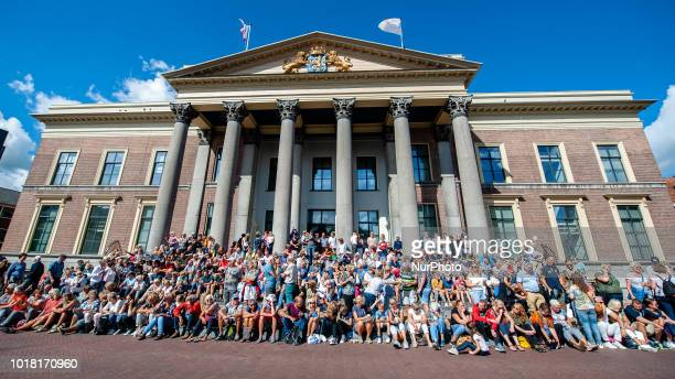 People await fot the French street theatre company Royal de Luxe parades through the streets in the European Capital of Culture 2018 Leeuwarden The...