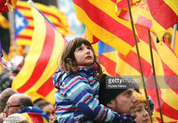 People backing the independence of Catalonia from Spain stage a rally near the headquarters of the European Union in Brussels on Dec 7 2017 ==Kyodo