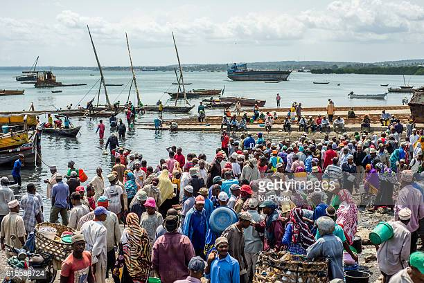 People bargain for better price to buy fish in a local fish market at the old dhow harbor Zanzibar City Zanzibar Tanzania Fishermen bring fish to the...