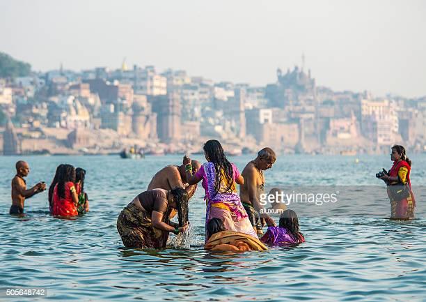 People bathing in the Ganges Varanasi India
