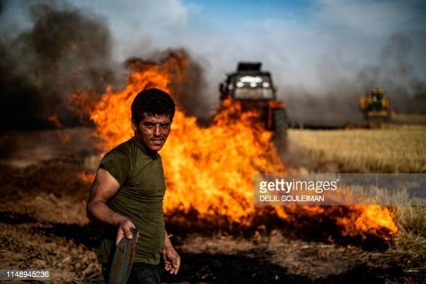TOPSHOT People battle a blaze in an agricultural field in the town of alQahtaniyah in the Hasakeh province near the SyrianTurkish border on June 10...