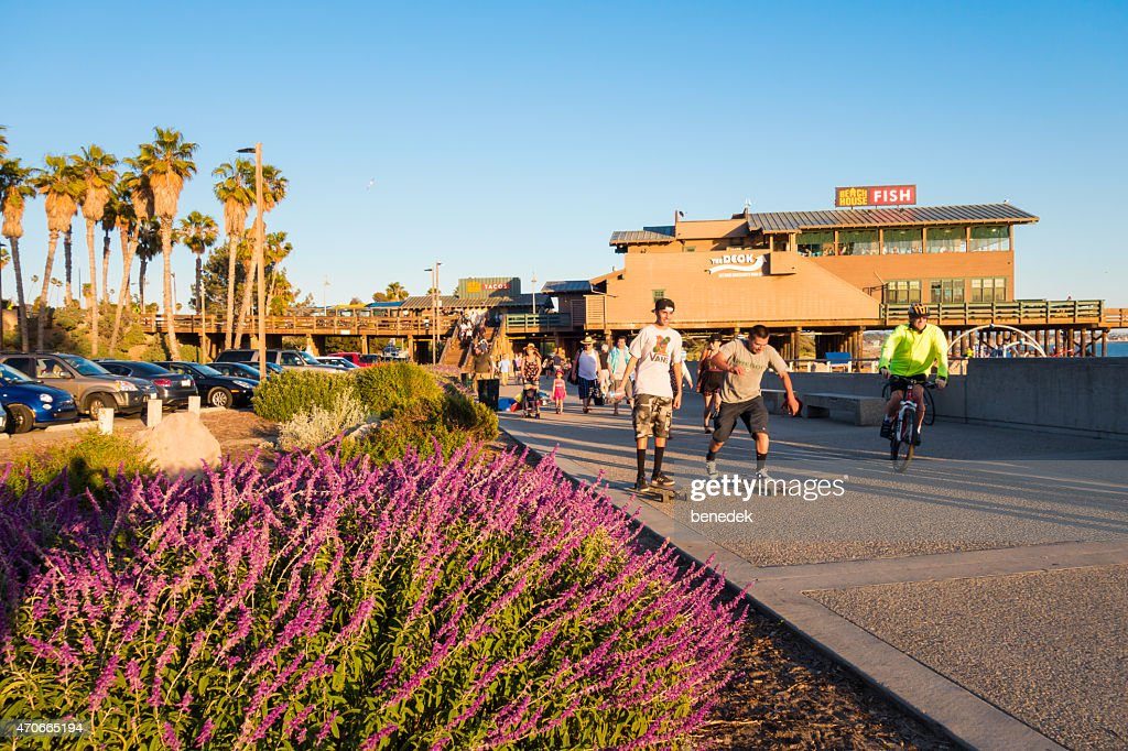 People Being Active at the Ventura Promenade and Pier California : Stock Photo
